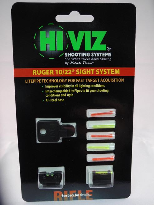 HI-VIZ Ruger 10/22 Fibre Optic Front & Rear Sight Set