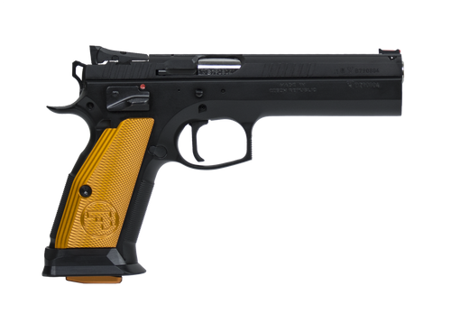 "CZ 75 TS (Tactical Sport) Orange Semi-Auto Pistol, .40S&W, Orange Grips, Adjustable Sights, 5.4"" Barrel, 10 Rounds"