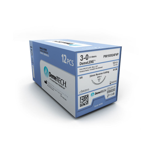 DemeTECH DemeLENE Polypropylene Suture - 3 - Taper Cutting - DV-37 - 75 cm Blue