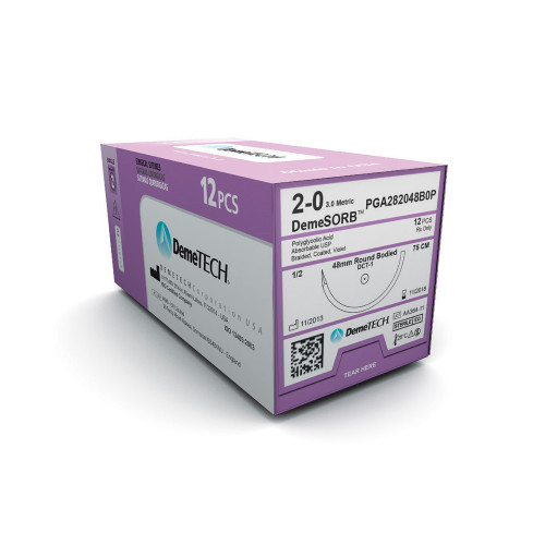 DemeTECH DemeSORB PGA Suture, 75mm Long,Violet, 2/0, 26mm Needle, DCT-2, 1/2 Circle, Round Bodied Heavy