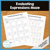 FREE - Evaluating Expressions Maze