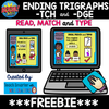 Ending Trigraphs -TCH and -DGE  Read, Match and Type BOOM cards™