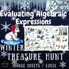 January Winter Treasure Hunt Evaluating Algebraic Expressions EDITABLE Polar Bear