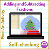 Adding and Subtracting Fractions Christmas Pixel Art Activity for Excel