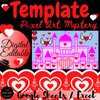 Valentine's Castle Escape Room - Pixel Art Mystery Picture Template EDITABLE