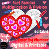 Math Color by Number Multiplication & Division Fact Families Printable & Digital