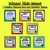 8 Integer Slide Games for the school year - Holiday themes