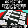 US History EOC Review Important Document Sorting Activity Hands-On