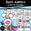 EASTER BUNNY - Basic Algebra Color by Number Worksheets