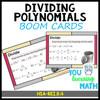 Dividing Polynomials - BOOM Cards: Digital Task Cards + Printable Task Cards