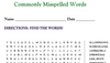 Commonly Misspelled Words (WORD SEARCH)