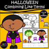 Halloween Basic Algebra - Combining Like Terms  Worksheet - Color by Number
