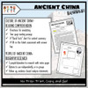 Ancient China Map Activity, Reading Comprehension, and Bio's Research (Student- Centered)