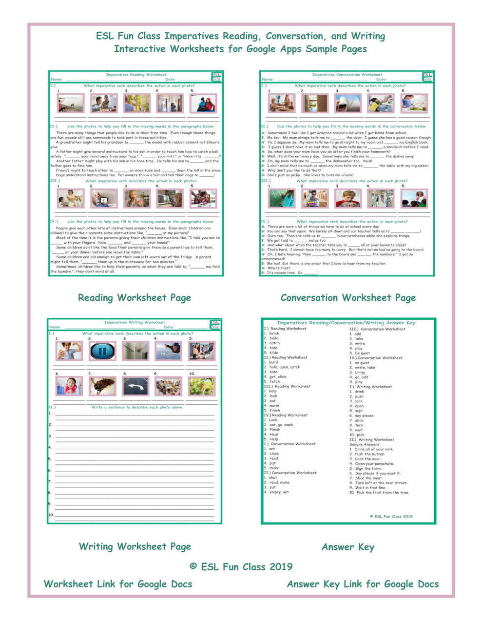 - Imperatives Read-Converse-Write Interactive Worksheets For Google