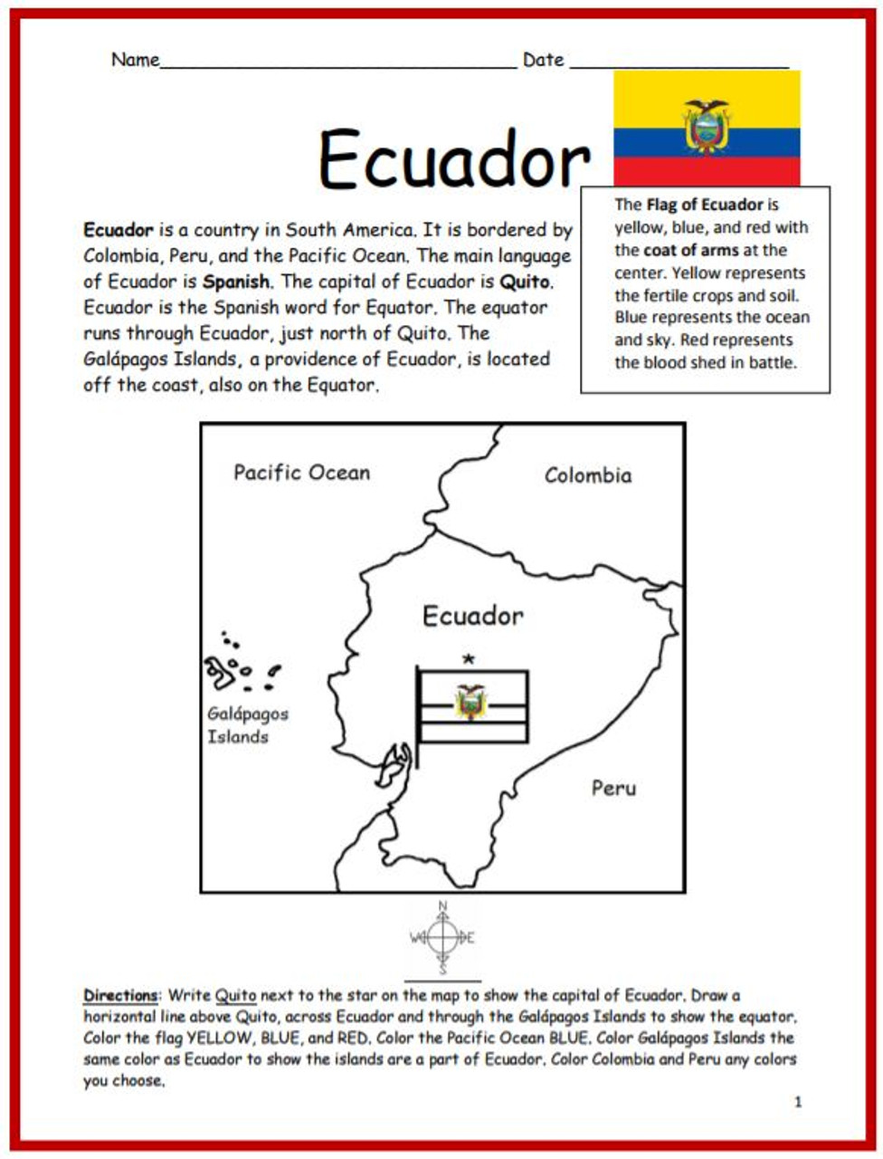Color and Learn Geography - Ecuador