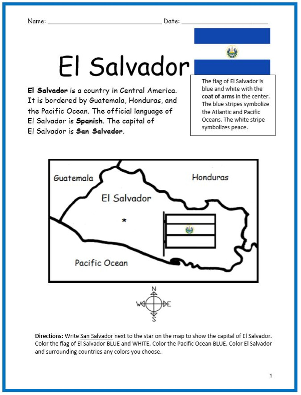 Color and Learn Geography - El Salvador