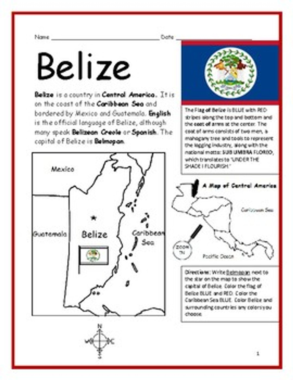 Color and Learn Geography - Belize