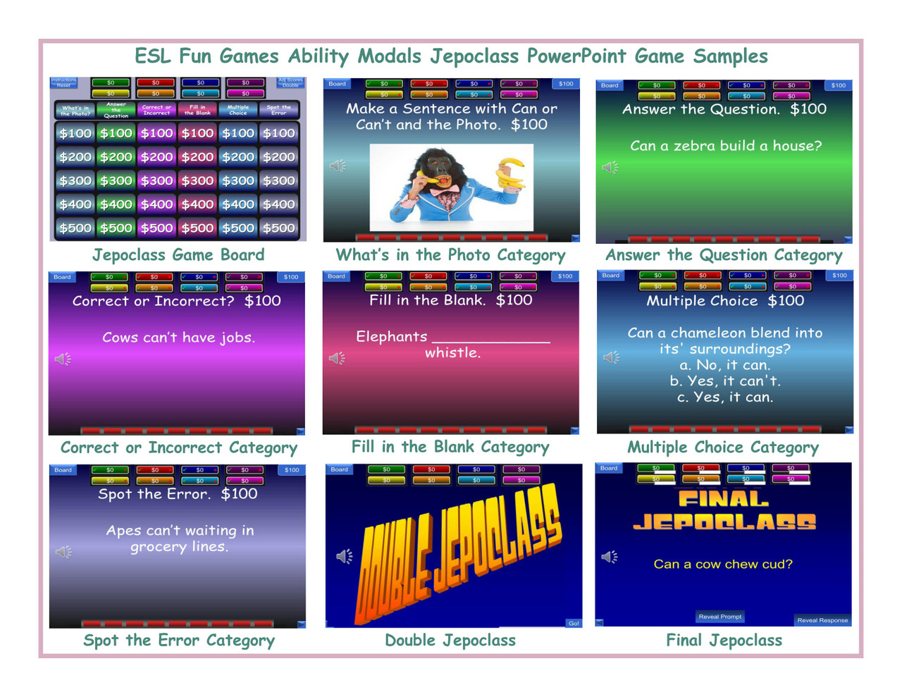 Ability Modals Jepoclass PowerPoint Game
