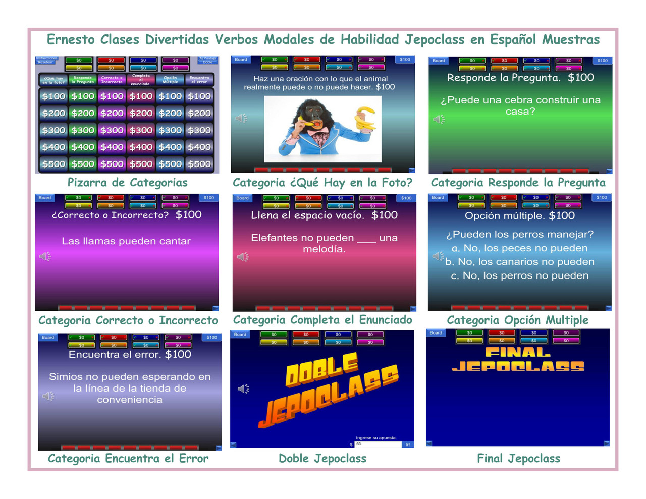 Ability Modals Spanish Jepoclass PowerPoint Game