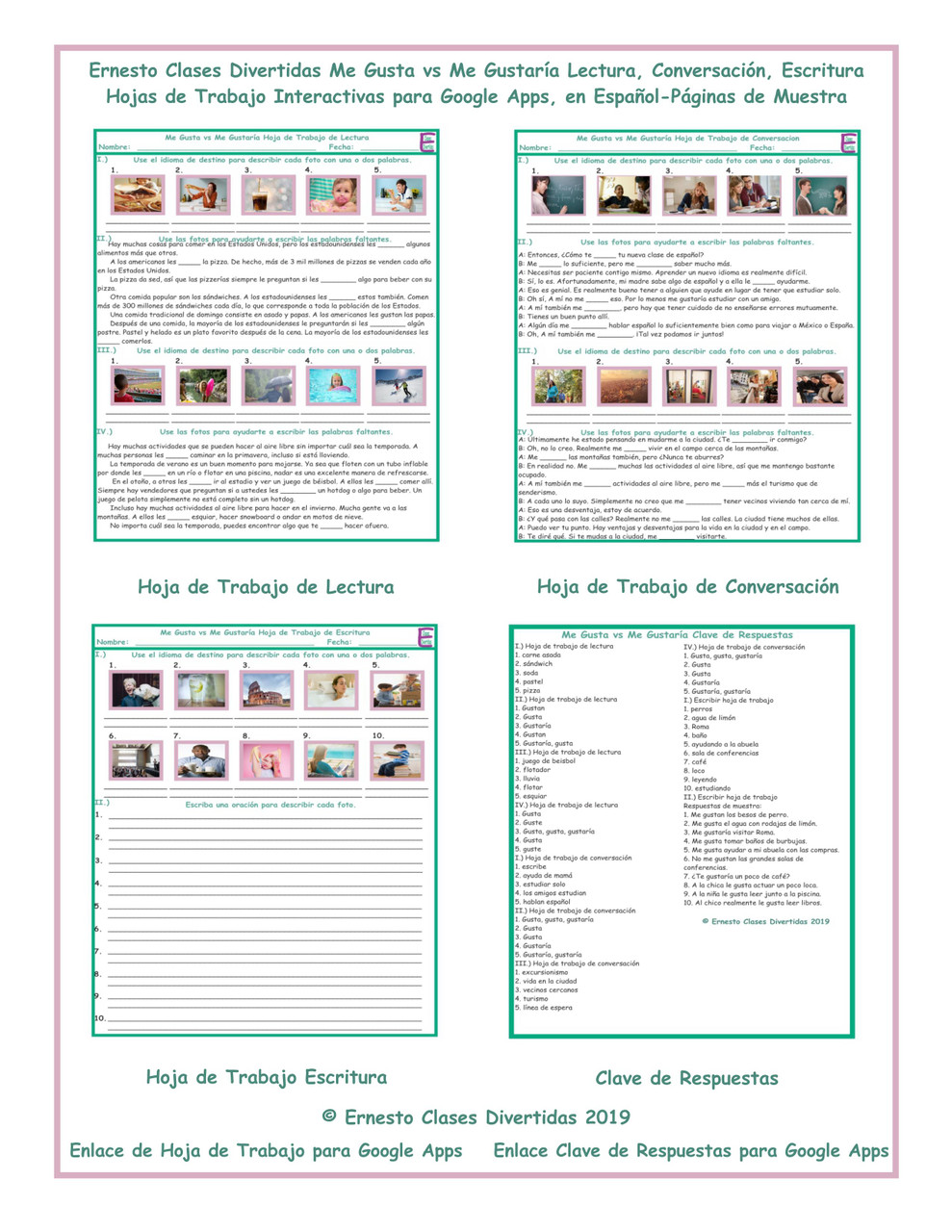 Gusta vs Me Gustaria Read-Converse-Write Spanish Interactive Worksheets-Google Apps