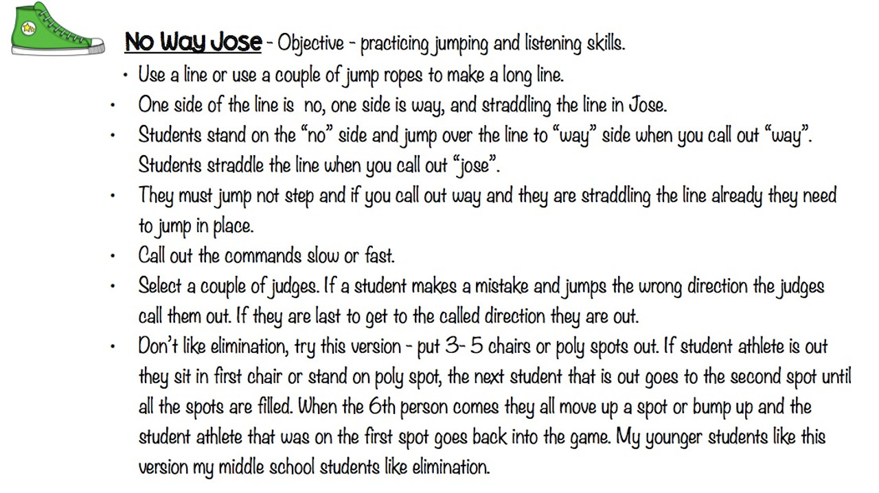 No Way Jose - group jumping game for small space