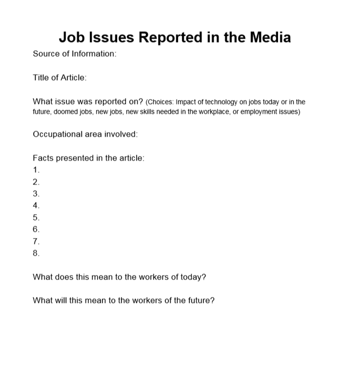 Job Issues Reported in the Media