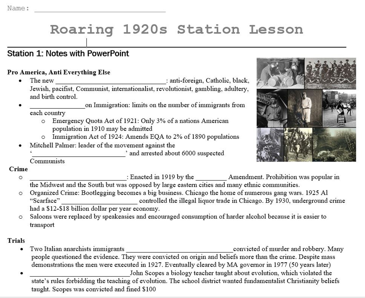 1920s Station Lesson