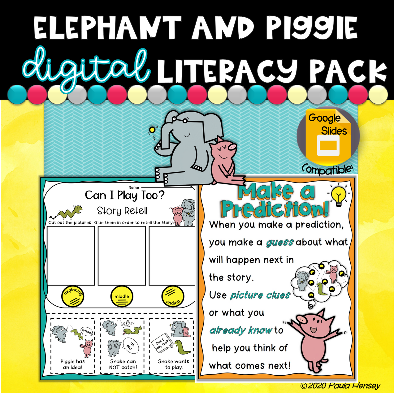 Elephant and Piggie K-2 Literacy Pack Distance Learning Work At Home Packet