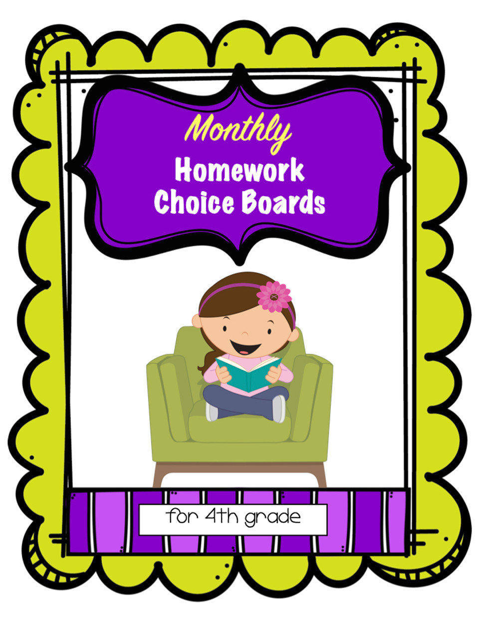 4th Grade Homework Choice Boards for All Year