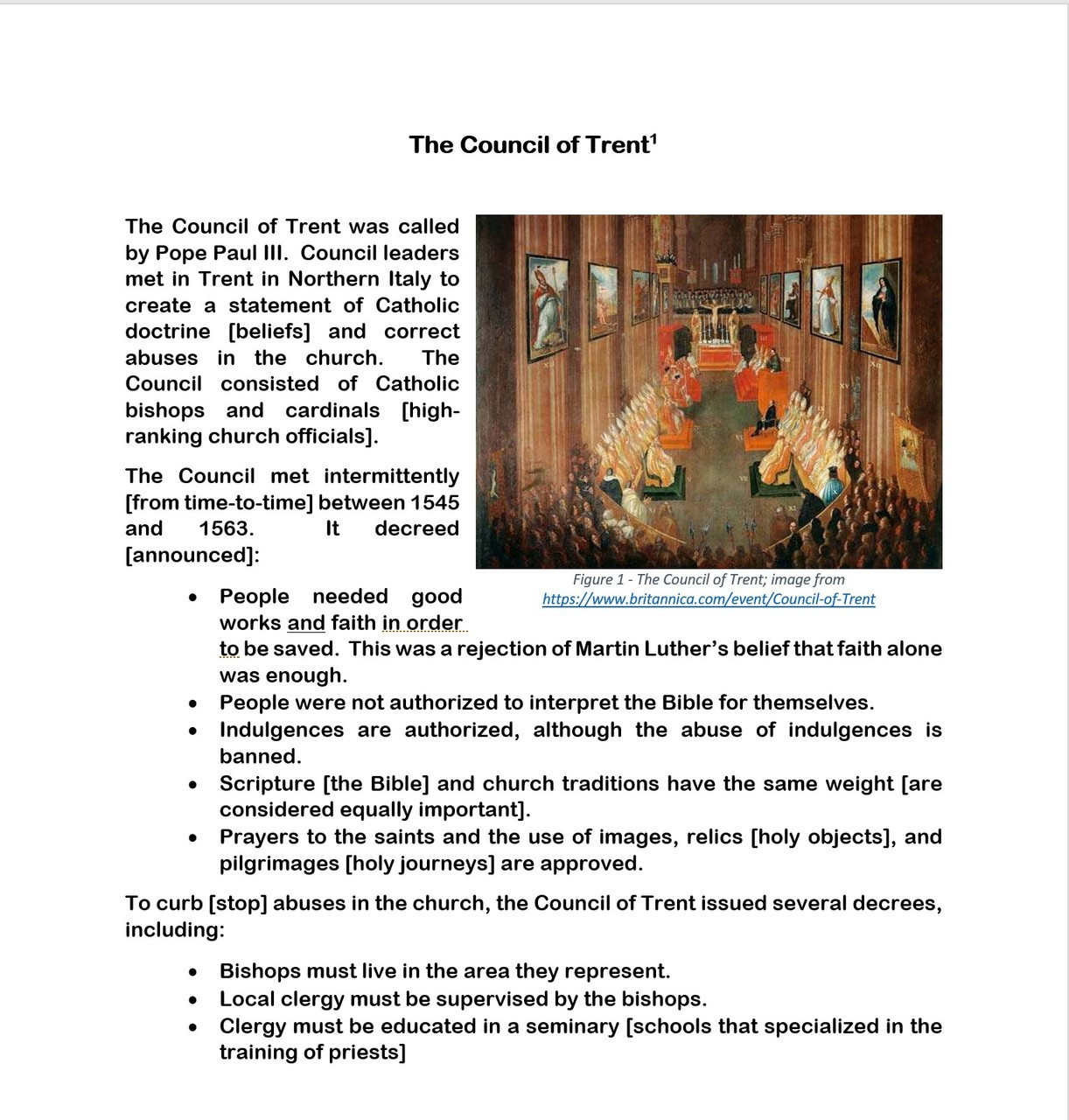 The Reformation: The Catholic Response (a.k.a. Counter Reformation) Stations