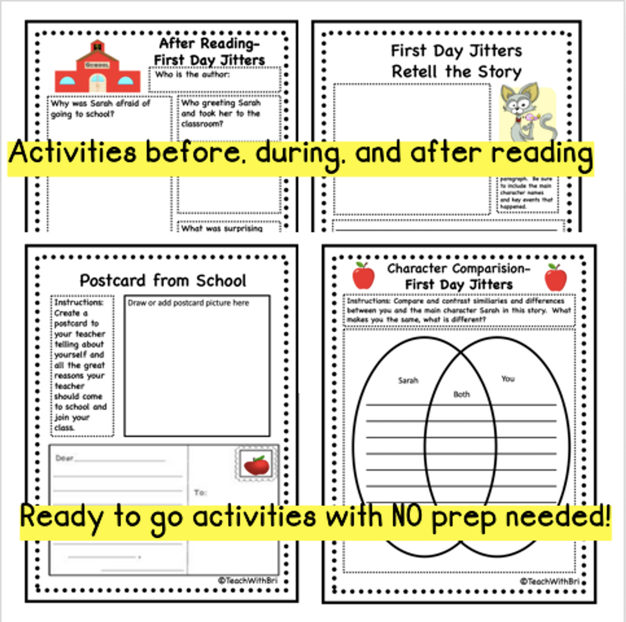 Virtual Read A Loud  First Day Jitters  Student Reading Activities for  Beginning of School Year