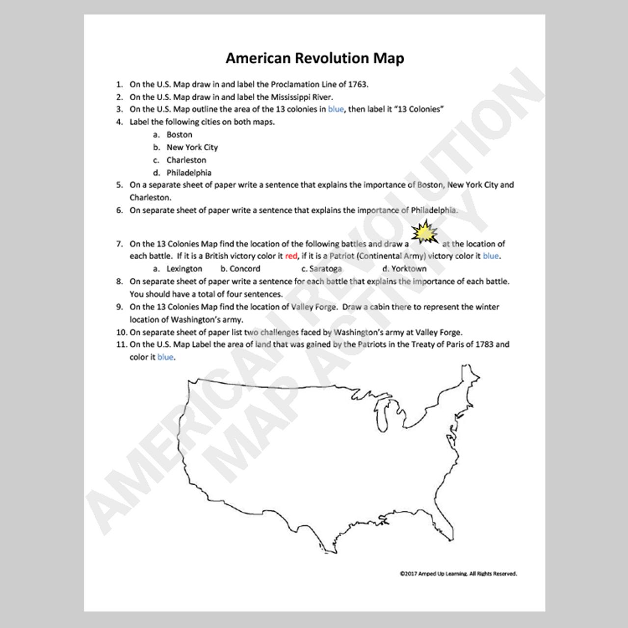 American Revolution Map Activity - FREE