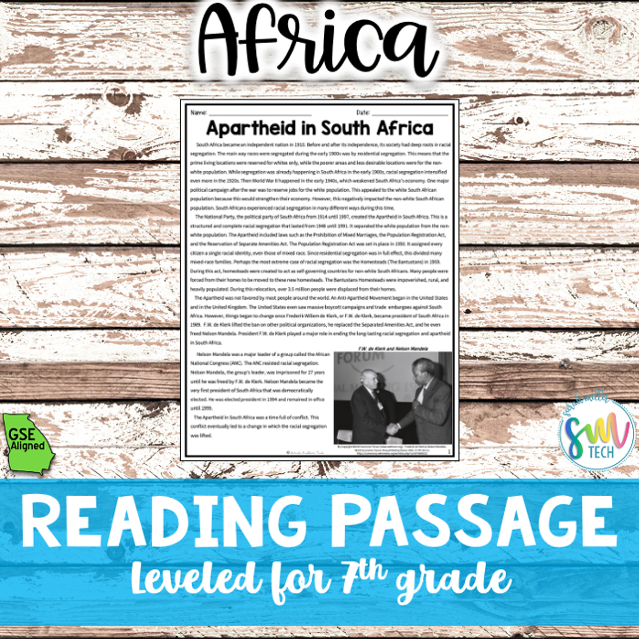 Apartheid in South Africa Reading (SS7H1, SS7H1c)