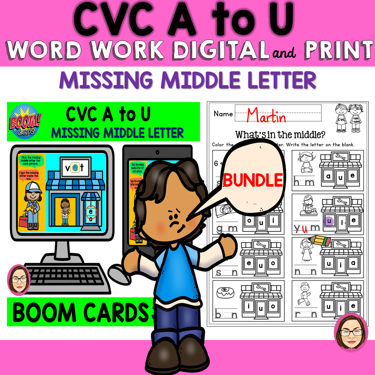CVC A to U WORD WORK MISSING MIDDLE LETTER DIGITAL and PRINT BUNDLE