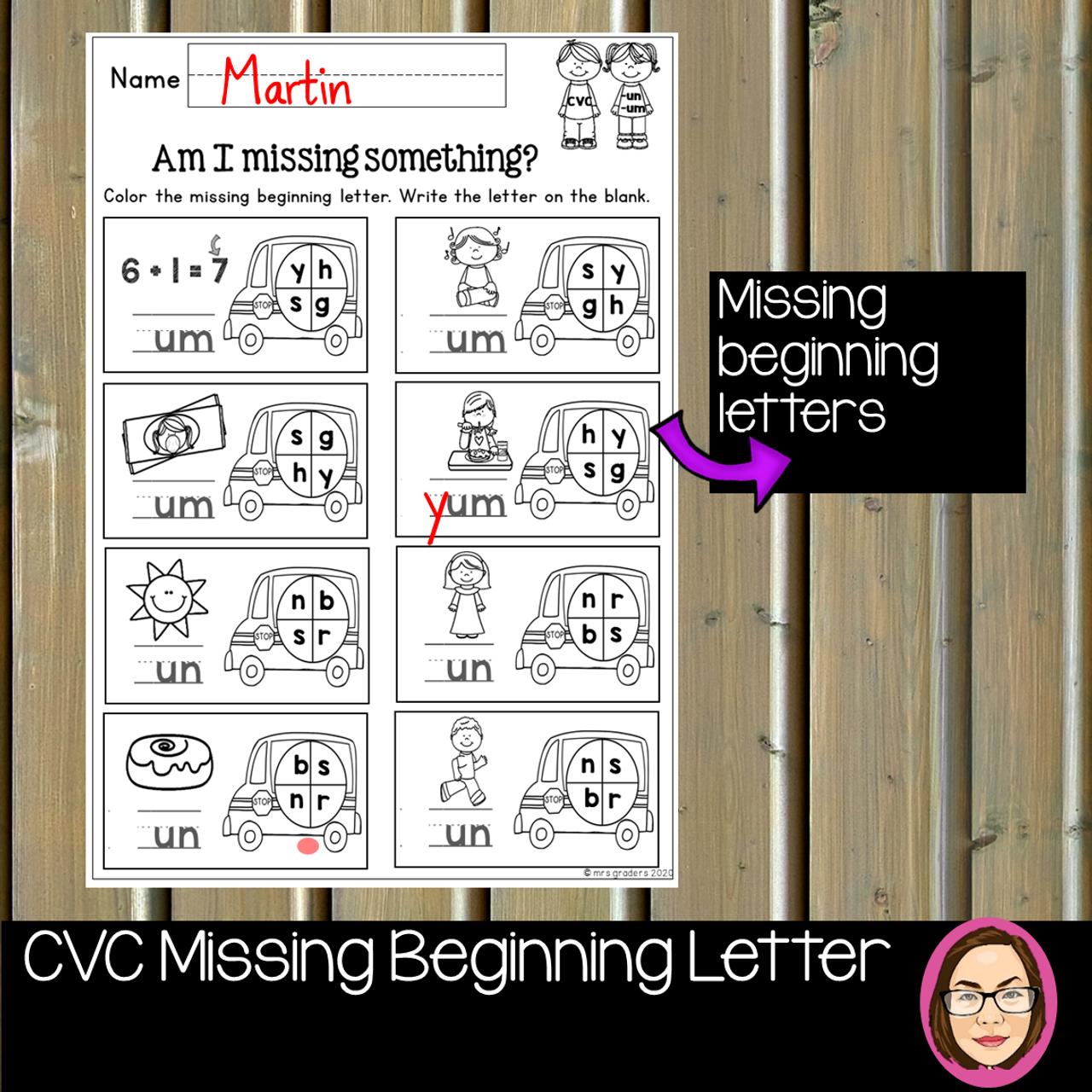 CVC A to U WORD WORK MISSING BEGINNING LETTER DIGITAL and PRINT BUNDLE