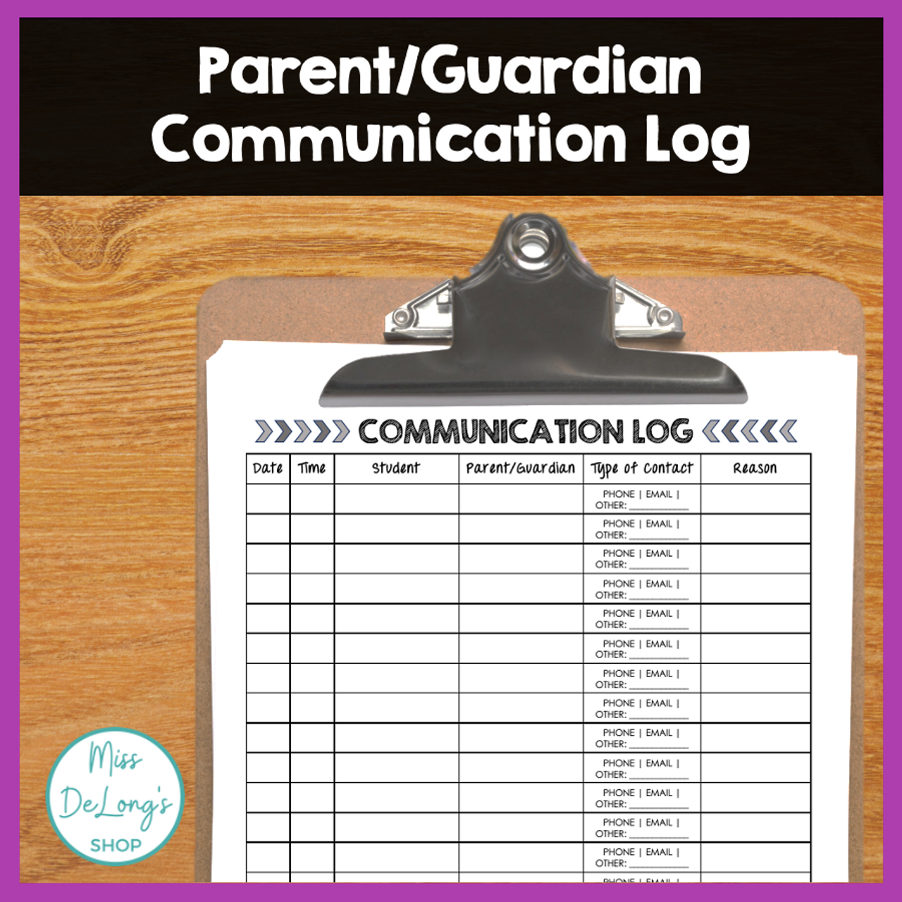 FREEBIE Parent/Guardian Communication Log