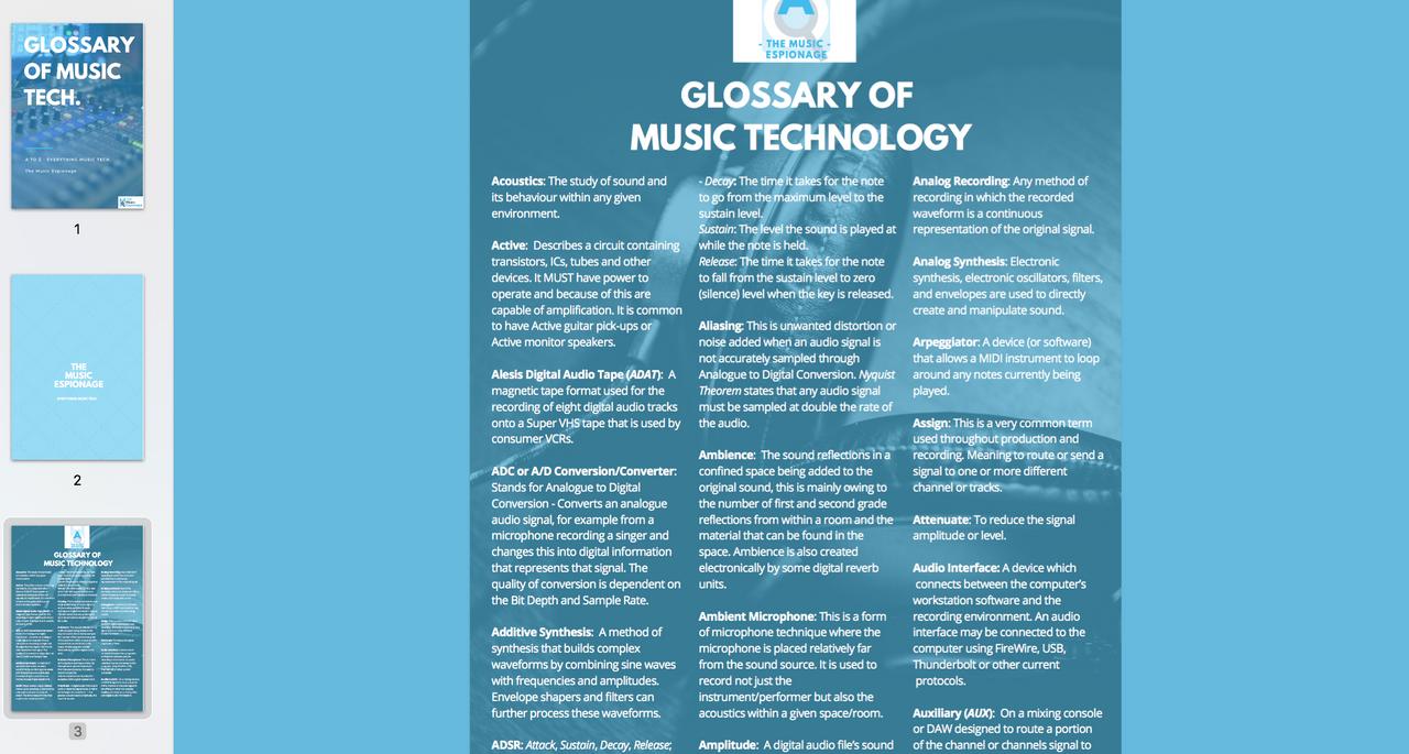 Glossary of Music Technology