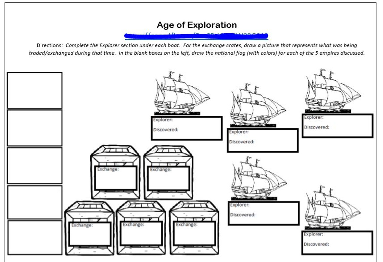 Age of Exploration Break In To History Activity