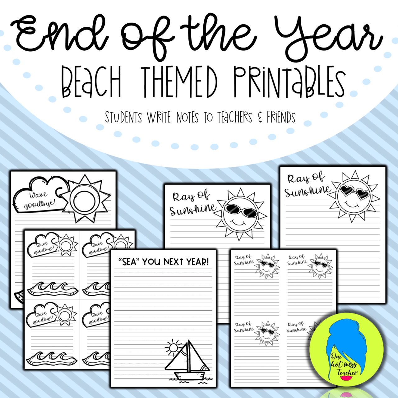 End of the Year Beach Themed Printables