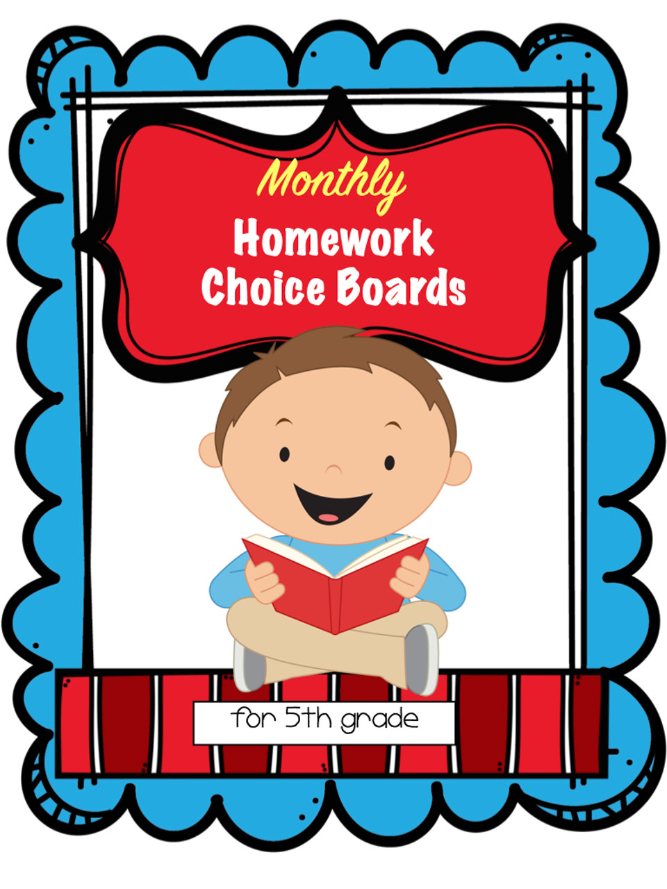 5th Grade Homework Choice Boards for All Year