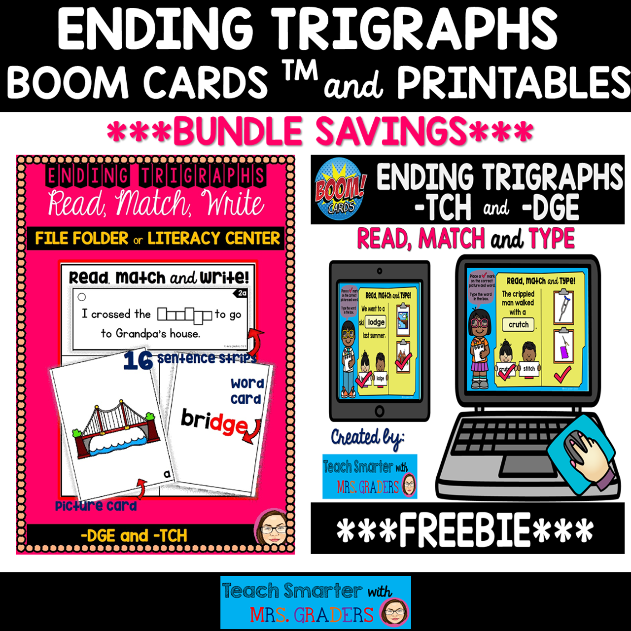 ENDING TRIGRAPHS: READ, WRITE AND MATCH/TYPE BOOM Cards™ and PRINT BUNDLE