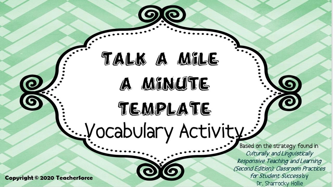 Vocabulary Activity: Talk a Mile a minute