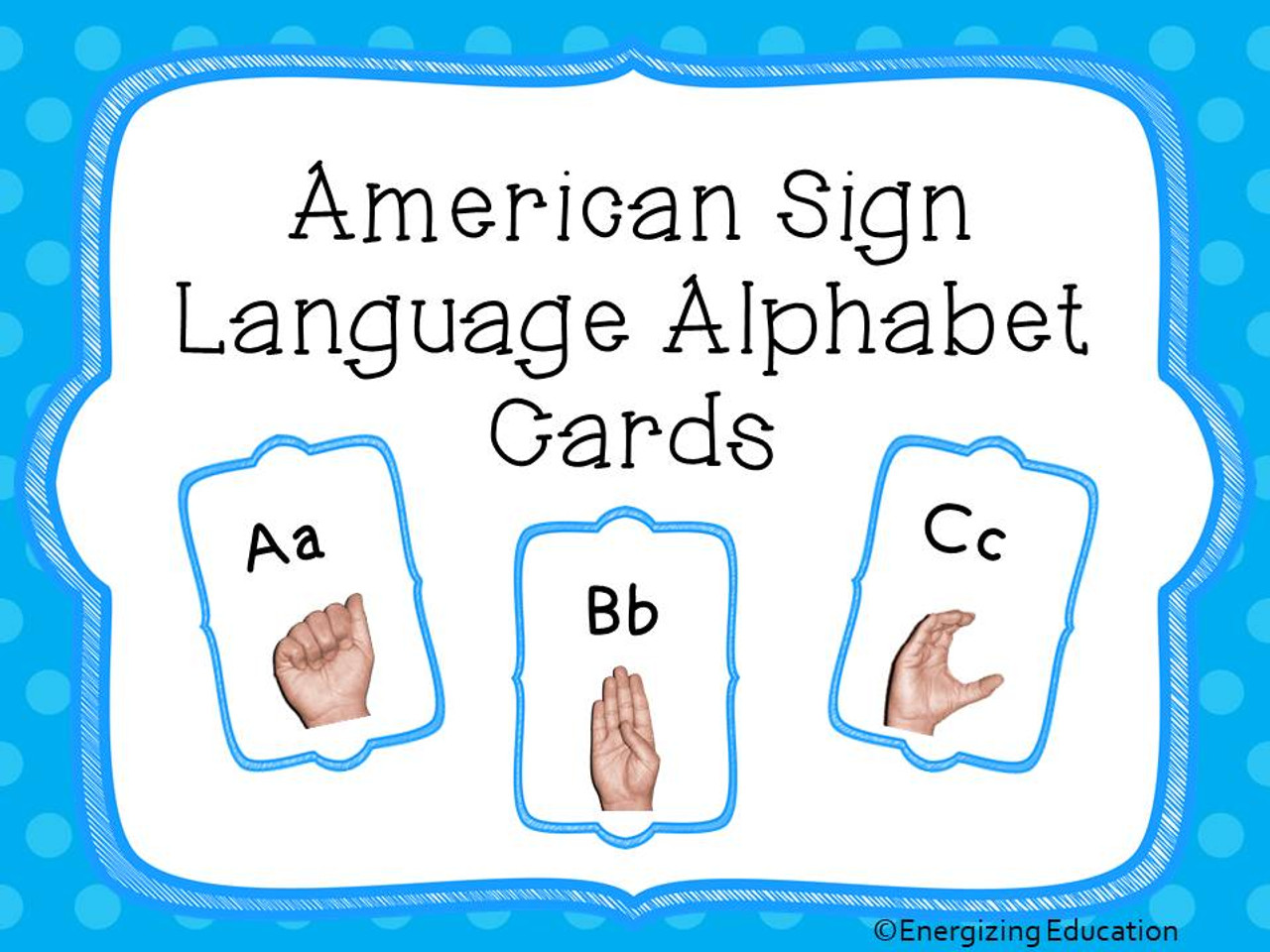 ASL American Sign Language Alphabet Cards