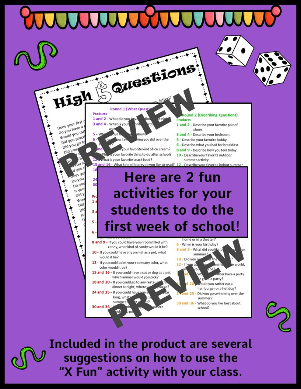 Back to School - Get to Know You Activities - 4th and 5th Grade
