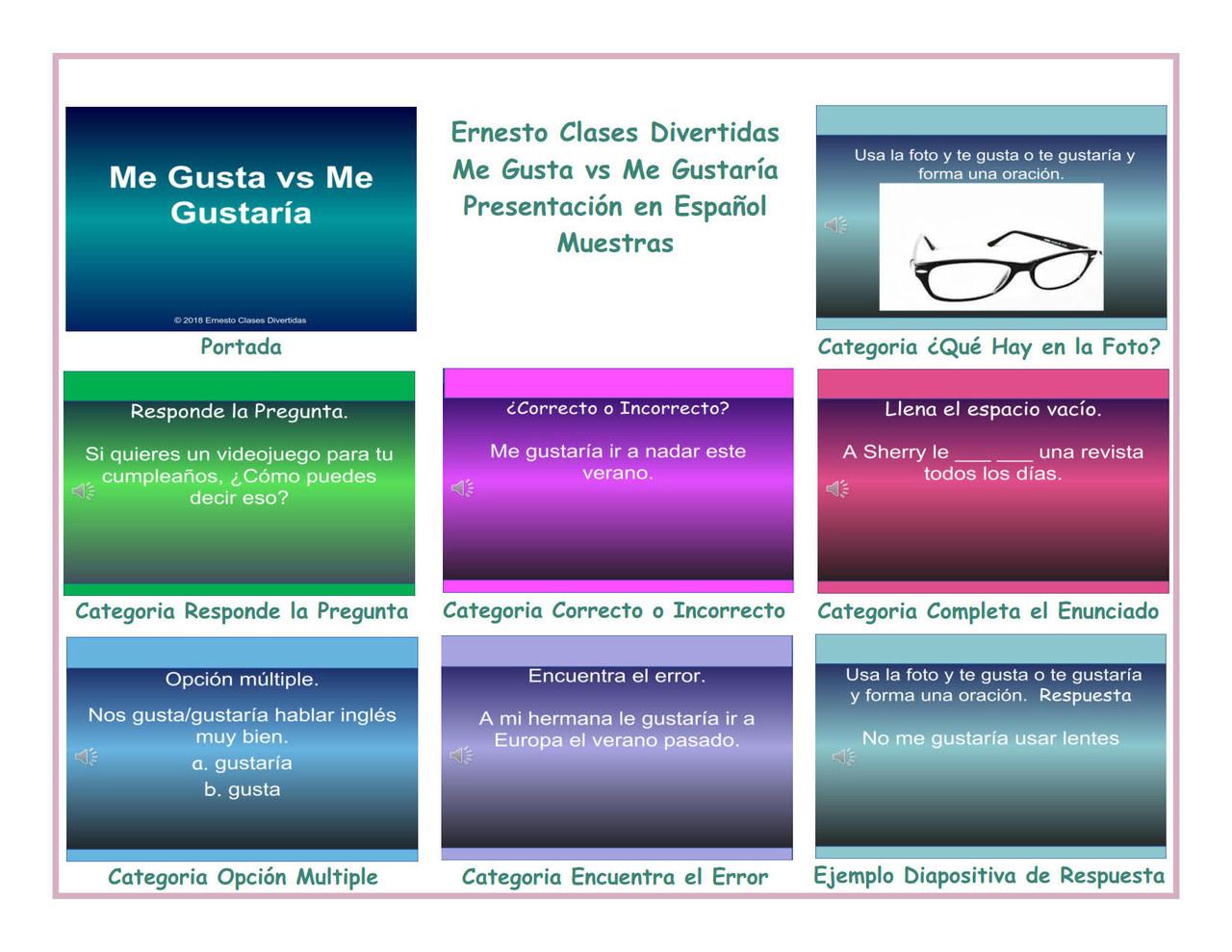 Gusta vs Me Gustaria Spanish PowerPoint Presentation