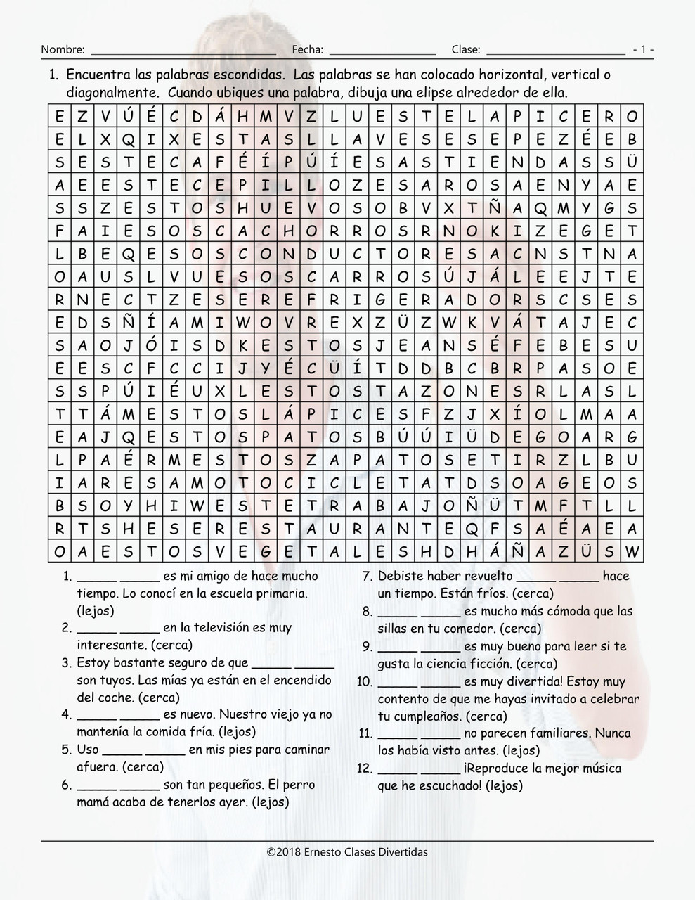 Demonstrative Adjectives Spanish Word Search Worksheet Throughout Demonstrative Adjectives Spanish Worksheet