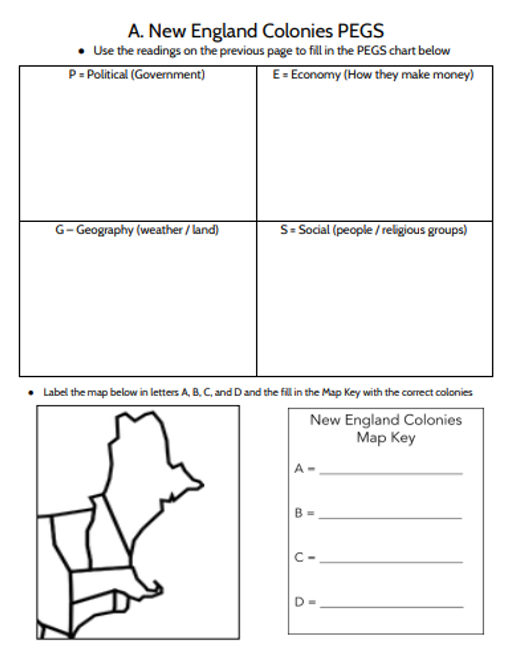 13 English Colonies PEGS Activity