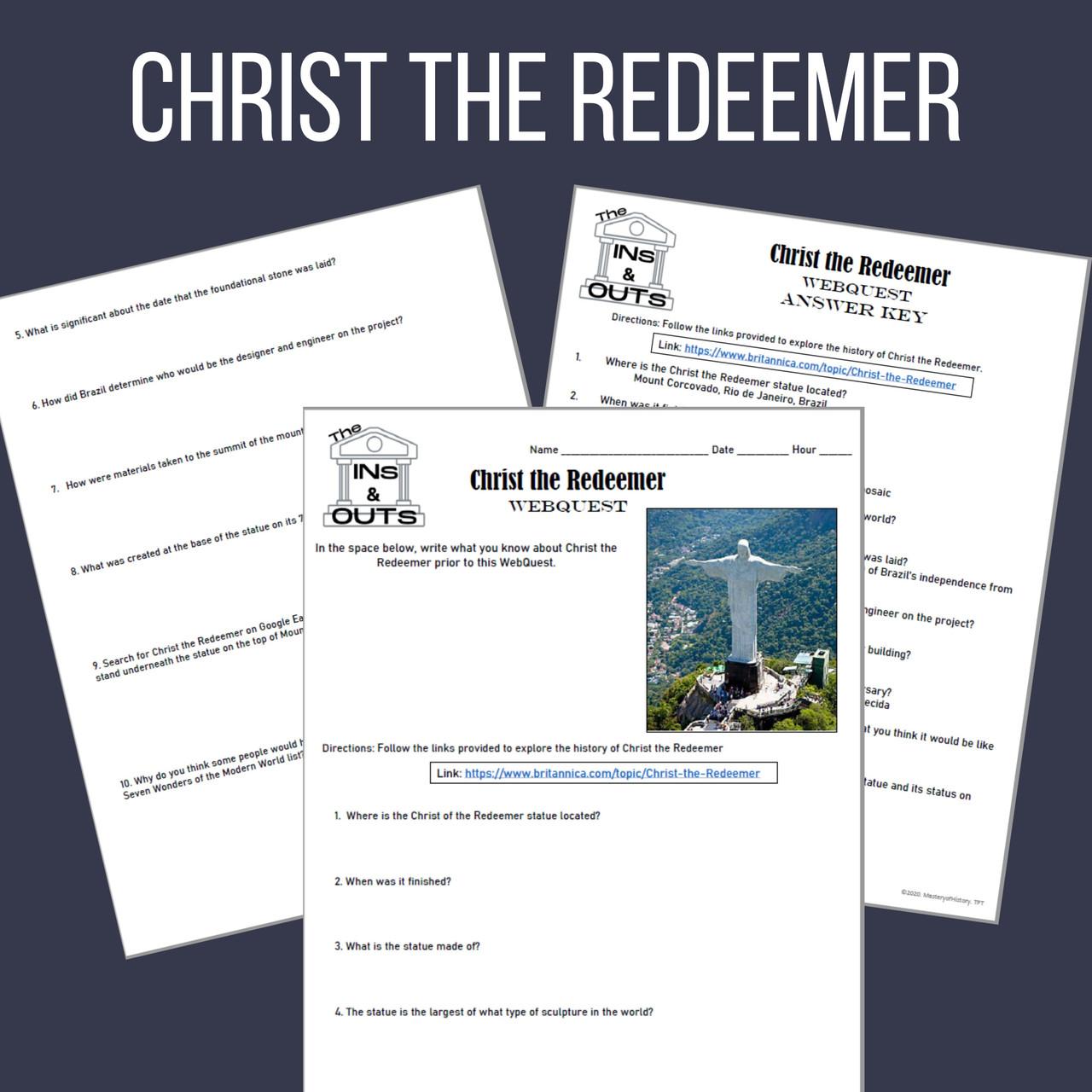 Christ the Redeemer WebQuest (Google Compatible)