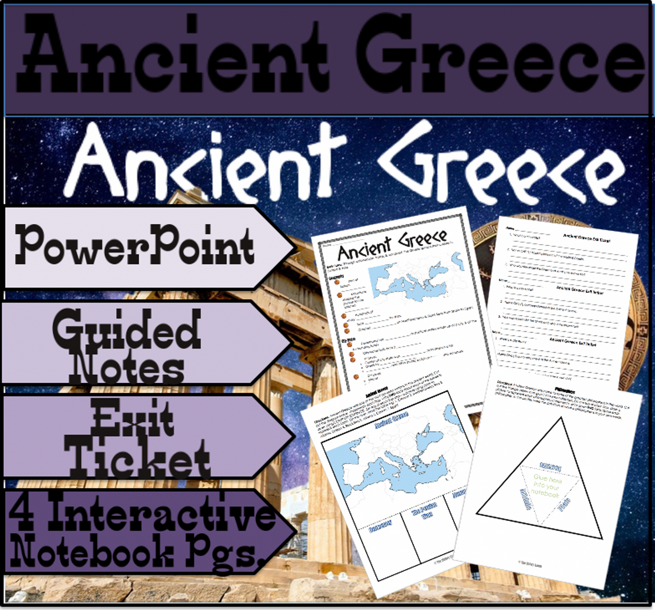 Ancient Greece PowerPoint + Interactive Notebook Pages