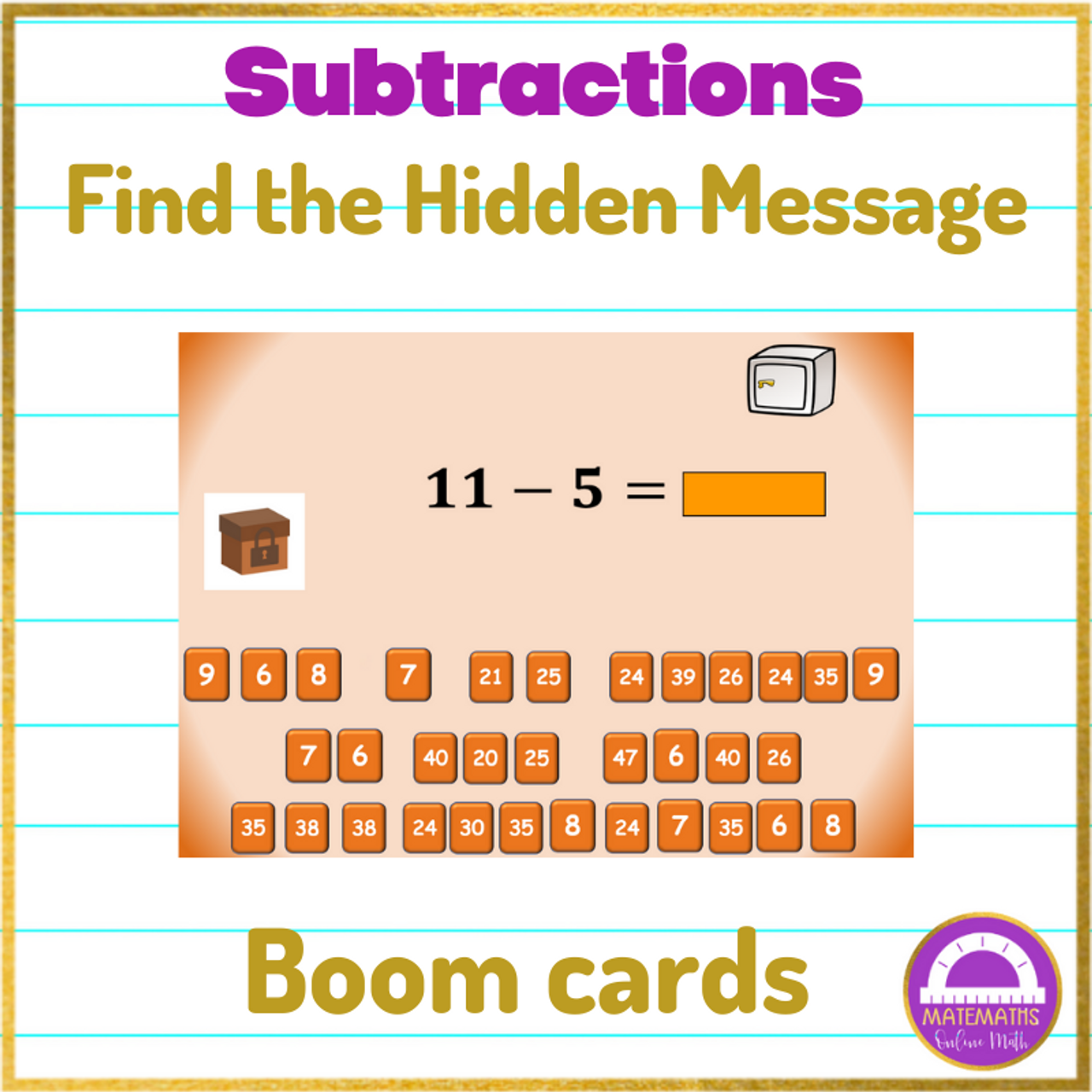 BOOM CARDS Subtraction Activity Find the Hidden Message